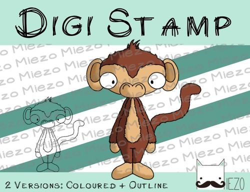 Digitaler Stempel, Digi Stamp Affe, 2 Versionen: Outlines, in Farbe