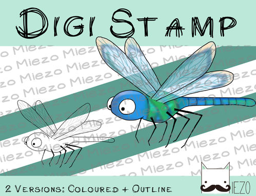 Digitaler Stempel, Digi Stamp Libelle, 2 Versionen: Outlines, in Farbe