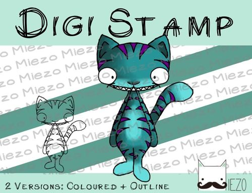 Digitaler Stempel, Digi Stamp Grinsekatze, 2 Versionen: Outlines, in Farbe