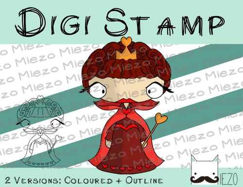 Digitaler Stempel, Digi Stamp Herzkönigin, 2 Versionen: Outlines, in Farbe