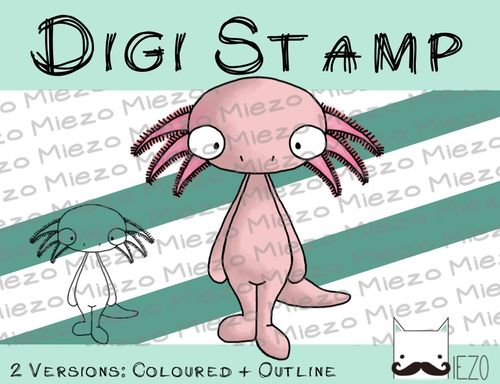 Digitaler Stempel, Digi Stamp Axolotl, 2 Versionen: Outlines, in Farbe