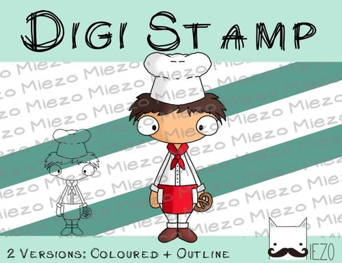 Digitaler Stempel, Digi Stamp Bäcker, 2 Versionen: Outlines, in Farbe