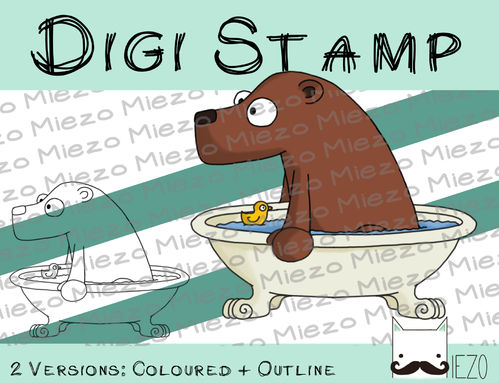 Digitaler Stempel, Digi Stamp Badebär, Bär in Badewanne, 2 Versionen: Outlines, in Farbe