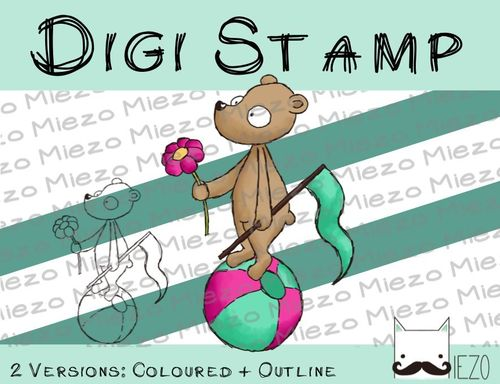 Digitaler Stempel, Digi Stamp Bär auf Ball 2 Versionen: Outlines, in Farbe