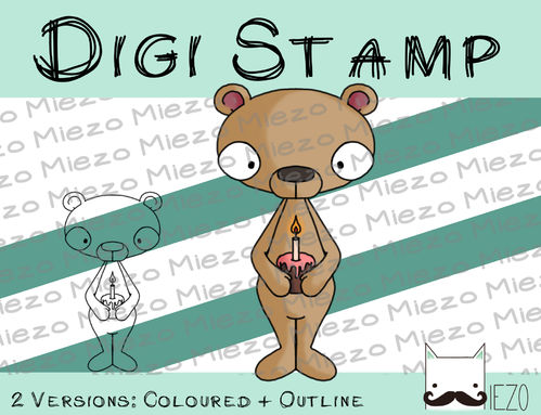 Digitaler Stempel, Digi Stamp Bär mit Torte, 2 Versionen: Outlines, in Farbe
