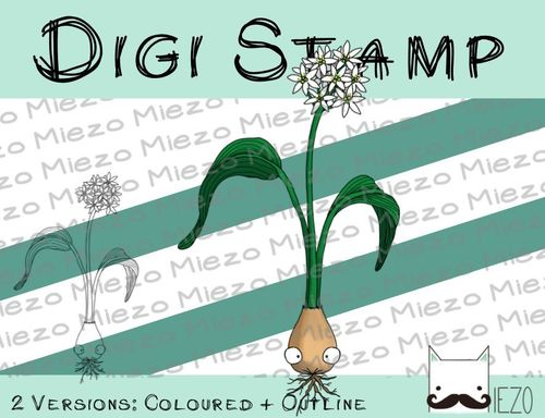 Digitaler Stempel, Digi Stamp Bärlauch, 2 Versionen: Outlines, in Farbe
