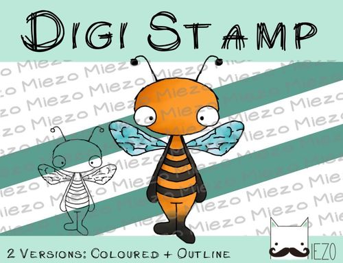 Digitaler Stempel, Digi Stamp Biene , 2 Versionen: Outlines, in Farbe