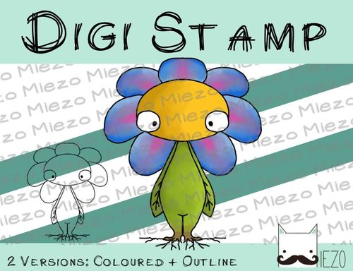 Digitaler Stempel, Digi Stamp Blume , 2 Versionen: Outlines, in Farbe