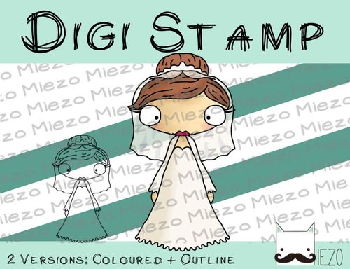 Digitaler Stempel, Digi Stamp Braut , 2 Versionen: Outlines, in Farbe