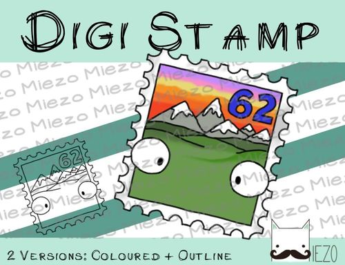 Digitaler Stempel, Digi Stamp Briefmarke , 2 Versionen: Outlines, in Farbe
