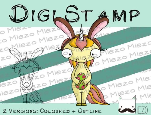 Digitaler Stempel, Digi Stamp Bunnyhorn, Oster-Einhorn, 2 Versionen: Outlines, in Farbe