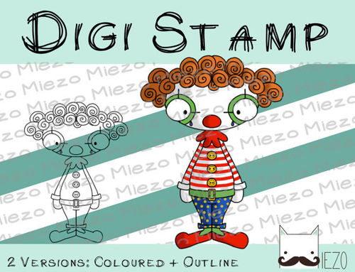 Digitaler Stempel, Digi Stamp Clown, 2 Versionen: Outlines, in Farbe
