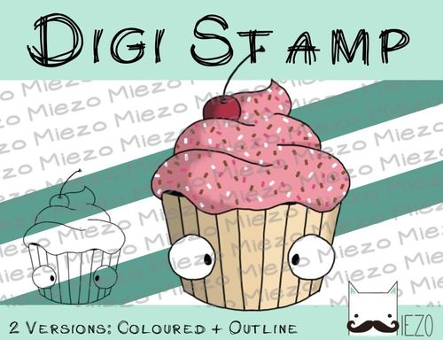 Digitaler Stempel, Digi Stamp Cupcake , 2 Versionen: Outlines, in Farbe