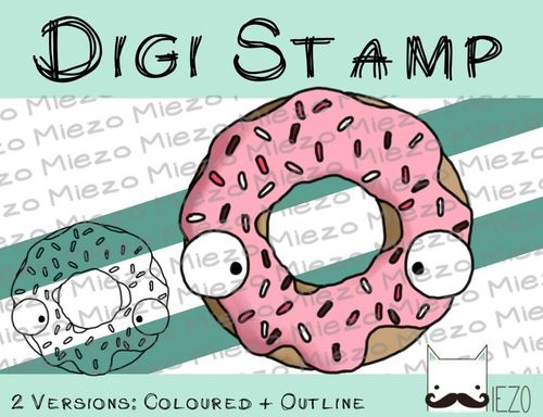 Digitaler Stempel, Digi Stamp Donut, 2 Versionen: Outlines, in Farbe