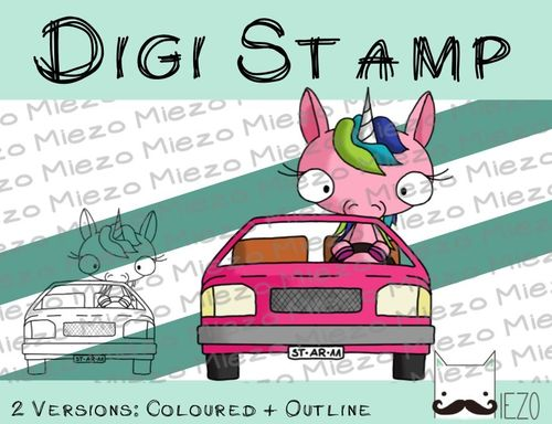 Digitaler Stempel, Digi Stamp Einhorn im Auto, 2 Versionen: Outlines, in Farbe
