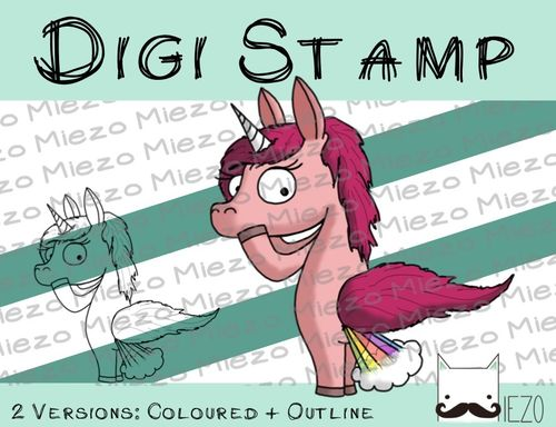 Digitaler Stempel, Digi Stamp Einhorn pupsend , 2 Versionen: Outlines, in Farbe