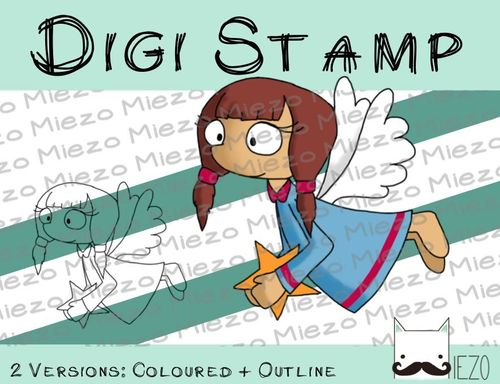 Digitaler Stempel, Digi Stamp Engel mit Stern, 2 Versionen: Outlines, in Farbe