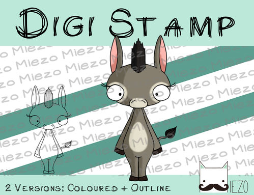 Digitaler Stempel, Digi Stamp Esel stehend, 2 Versionen: Outlines, in Farbe