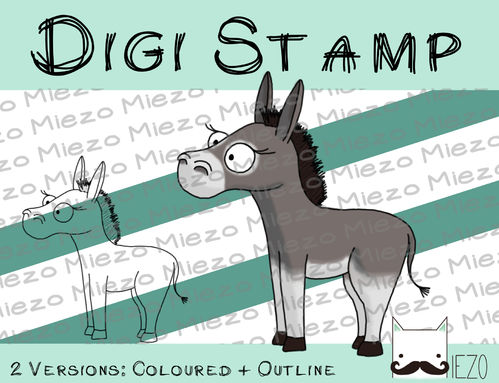 Digitaler Stempel, Digi Stamp Esel (Krippenfigur), 2 Versionen: Outlines, in Farbe