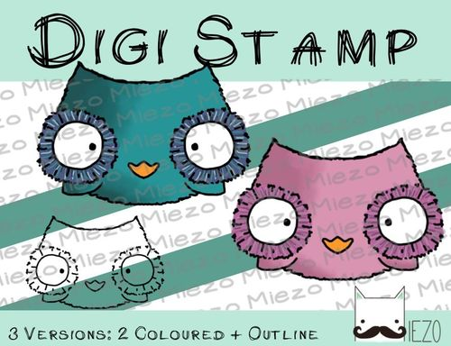 Digitaler Stempel, Digi Stamp Eule, 3 Versionen: Outlines, 2 in Farbe