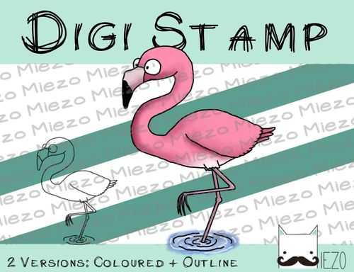 Digitaler Stempel, Digi Stamp Flamingo, 2 Versionen: Outlines, in Farbe