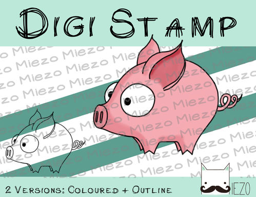 Digitaler Stempel, Digi Stamp Ferkel, 2 Versionen: Outlines, in Farbe