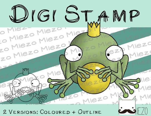 Digitaler Stempel, Digi Stamp Froschkönig, 2 Versionen: Outlines, in Farbe