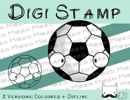 Digitaler Stempel, Digi Stamp Fußball, 2 Versionen: Outlines, in Farbe