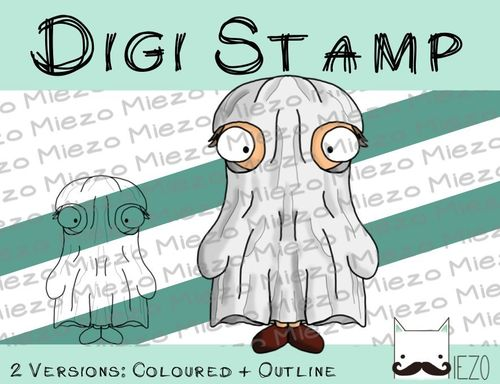Digitaler Stempel, Digi Stamp Gespensterjunge, 2 Versionen: Outlines, in Farbe