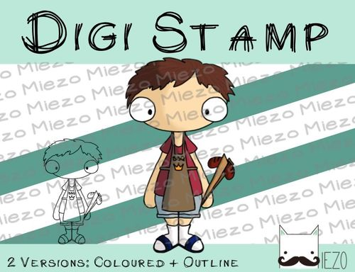 Digitaler Stempel, Digi Stamp Grillmeister, 2 Versionen: Outlines, in Farbe