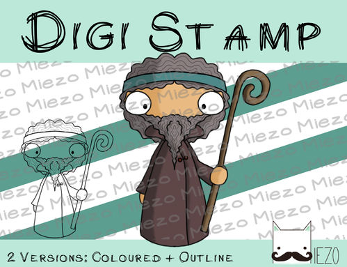 Digitaler Stempel, Digi Stamp Hirte (Krippenfigur), 2 Versionen: Outlines, in Farbe