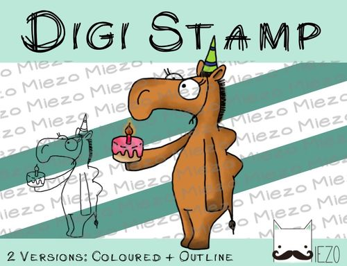 Digitaler Stempel, Digi Stamp Kamel mit Torte, 2 Versionen: Outlines, in Farbe