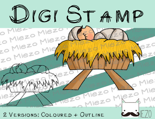 Digitaler Stempel, Digi Stamp Jesuskind (Krippenfigur), 2 Versionen: Outlines, in Farbe