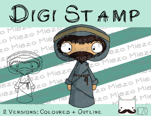 Digitaler Stempel, Digi Stamp Josef, 2 Versionen: Outlines, in Farbe