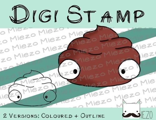 Digitaler Stempel, Digi Stamp Scheißhaufen, 2 Versionen: Outlines, in Farbe