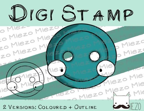 Digitaler Stempel, Digi Stamp Knopf, 2 Versionen: Outlines, in Farbe