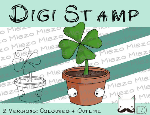 Digitaler Stempel, Digi Stamp Klee im Topf, 2 Versionen: Outlines, in Farbe