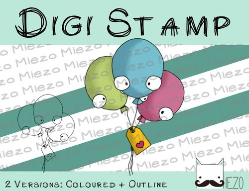 Digitaler Stempel, Digi Stamp Luftballons, 2 Versionen: Outlines, in Farbe