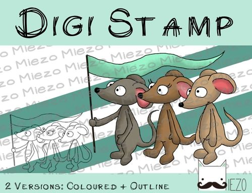 Digitaler Stempel, Digi Stamp Mäuse mit Fahne, 2 Versionen: Outlines, in Farbe