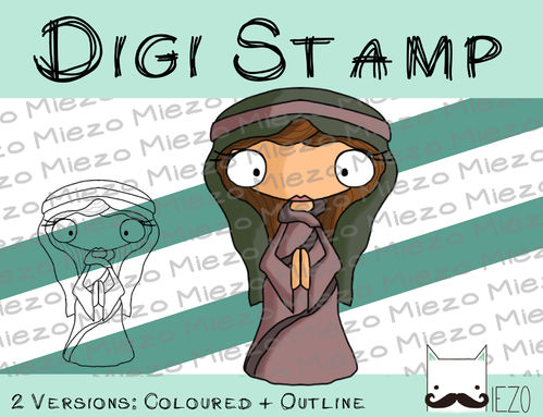 Digitaler Stempel, Digi Stamp Maria (Krippenfigur), 2 Versionen: Outlines, in Farbe