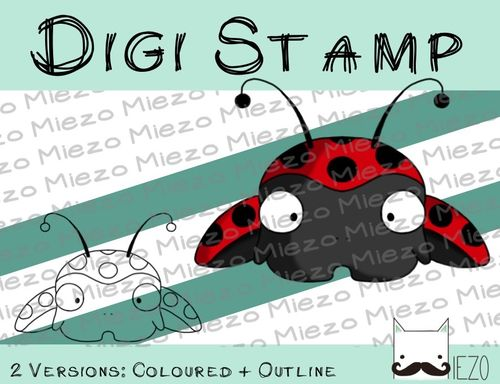 Digitaler Stempel, Digi Stamp Mini-Marienkäfer, 2 Versionen: Outlines, in Farbe