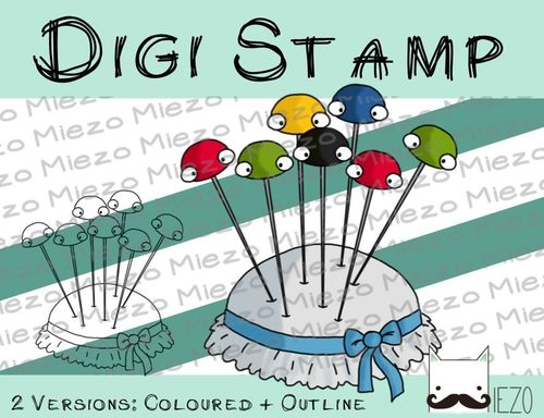 Digitaler Stempel, Digi Stamp Nadelkissen, 2 Versionen: Outlines, in Farbe