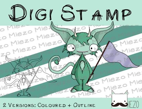 Digitaler Stempel, Digi Stamp Monster mit Fahne, 2 Versionen: Outlines, in Farbe