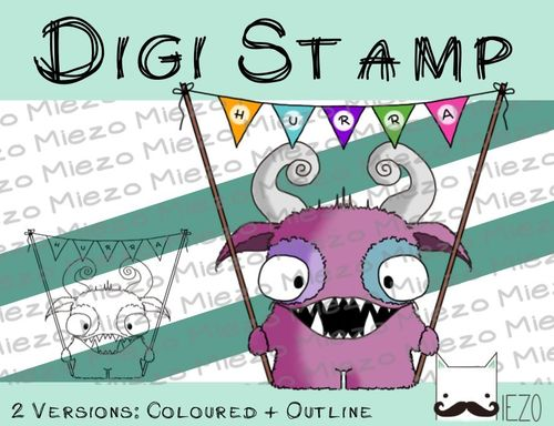Digitaler Stempel, Digi Stamp Monster mit Wimpel, 2 Versionen: Outlines, in Farbe