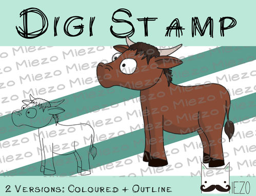 Digitaler Stempel, Digi Stamp Ochse (Krippenfigur), 2 Versionen: Outlines, in Farbe