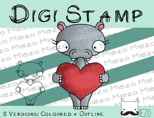 Digitaler Stempel, Digi Stamp Nilpferd, 2 Versionen: Outlines, in Farbe