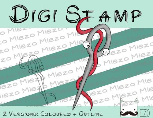 Digitaler Stempel, Digi Stamp Nähnadel, 2 Versionen: Outlines, in Farbe