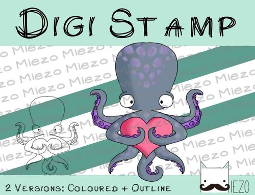 Digitaler Stempel, Digi Stamp Octopus mit Herz, 2 Versionen: Outlines, in Farbe