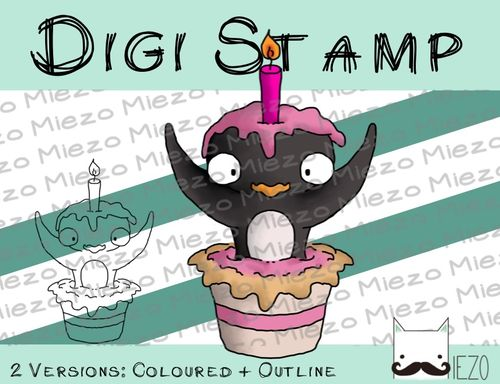Digitaler Stempel, Digi Stamp Pinguin springt aus Torte, 2 Versionen: Outlines, in Farbe
