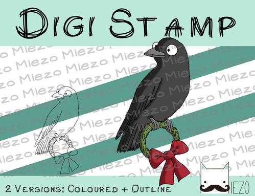 Digitaler Stempel, Digi Stamp Rabe mit Kranz, 2 Versionen: Outlines, in Farbe